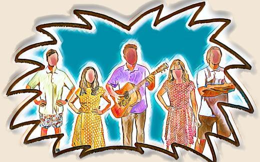 Zeichnung, welche die Mitglieder der Band Der Sarg ist fertig zeigt